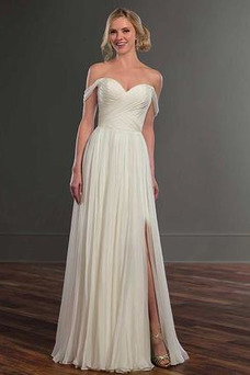 Robe de mariée Dos nu Taille Naturel Plissé Fourreau plissé Mousseline