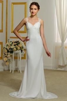 Robe de mariée Mousseline Larges Bretelles Sirène Taille chute De plein air