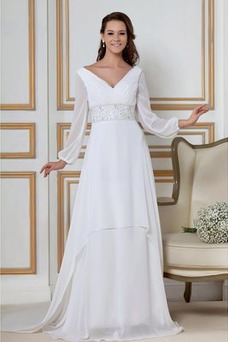 Robe de mariée Elégant Manche de T-shirt Fourreau plissé Col en V