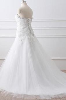 Robe de mariée A-ligne Lacet Taille Naturel Traîne Mi-longue Formelle
