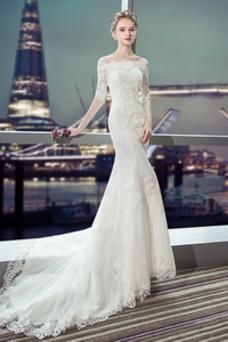 Robe de mariée Sirène Épaule Dégagée Taille Naturel Satin Manche Aérienne