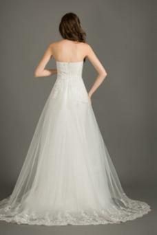 Robe de mariée Tulle Poire Elégant A-ligne Sans Manches Printemps