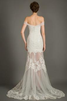 Robe de mariée Taille Naturel Printemps Col en Cœur Elégant Mancheron