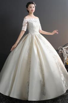 Robe de mariée Salle Longueur ras du Sol A-ligne Épaule Dégagée Taille Naturel