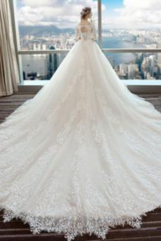 Robe de mariée Couvert de Dentelle Lacet Traîne Royal Col U Profond