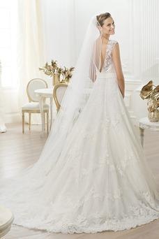 Robe de mariée Tulle Taille Naturel Traîne Mi-longue Col Bateau A-ligne