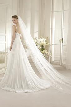 Robe de mariée Dos nu Col Bateau Sans Manches De plein air A-ligne