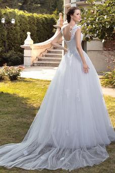 Robe de mariée Sans Manches De plein air A-ligne Traîne Mi-longue