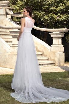 Robe de mariée Romantique A-ligne Épaule Asymétrique Sans Manches
