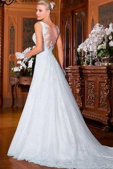 Robe de mariée Sans Manches Vintage Salle Tissu Dentelle Longue Appliques