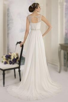 Robe de mariée Haut Bas Plage Taille Naturel Mousseline Col Bateau