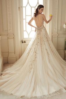 Robe de mariée Tulle Printemps Col en V Perle Longue Taille Naturel