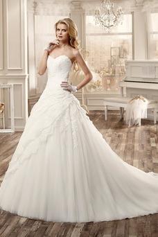 Robe de mariée Dos nu Appliques Taille Naturel Organza Col en Cœur