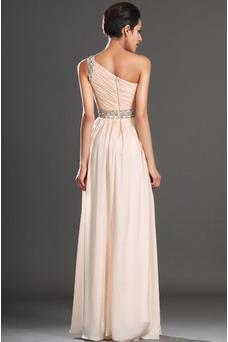 Robe habillée pour mariage Thigh-High Slit Pomme Épaule Asymétrique Zip Taille Naturel