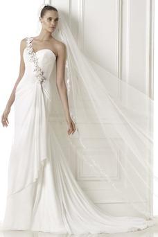 Robe de mariée Fourreau Épaule Asymétrique Longue De plein air Sans Manches