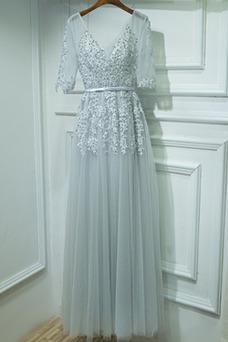 Robe demoiselle d'honneur A-ligne Taille Naturel Été Col en V Perle Romantique