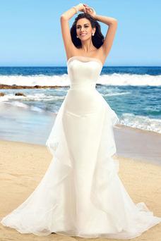 Robe de mariée Plage Ruches Zip Taille Naturel Bustier Satin