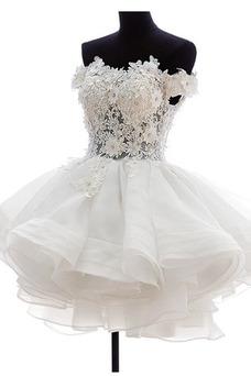 Robe de mariée Été De plein air Tissu Dentelle Glamour Gaze Fleurs
