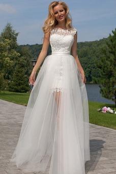 Robe de mariée Tulle Courte devant longue derriere Taille Naturel
