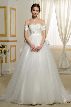 Robe de mariée Tissu Dentelle Traîne Courte Taille Naturel A-ligne