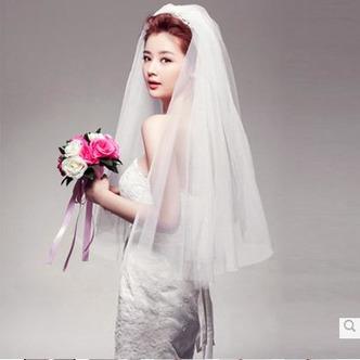 Voile de mariage Blanc Avec Peigne La taille peut être personnalisée - Page 1