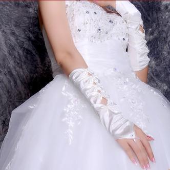 Gant de mariage Longue Épais Décoration Sans doigt Taffetas Nœud à Boucles - Page 3