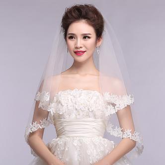Voile de mariage Printemps Blanc Formelle Appliques Court La taille peut être personnalisée - Page 1