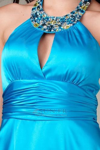 Robe de soirée cocktail Licou Courte Zip A-ligne Bleu Chic - Page 3