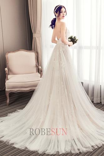 Robe de mariée Tissu Dentelle Dos nu Elégant De plein air Sans Manches - Page 2