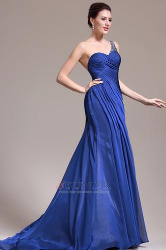 Robe de soirée Sirène Sans Manches Manquant Ruché Gaze Bleu de minuit - Page 4