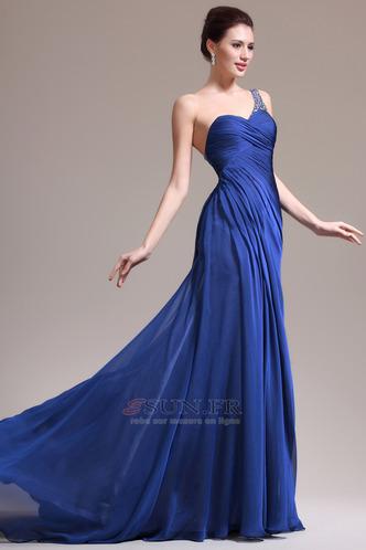 Robe de soirée Sirène Sans Manches Manquant Ruché Gaze Bleu de minuit - Page 3