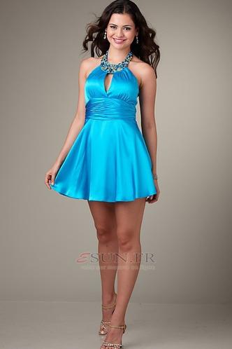 Robe de soirée cocktail Licou Courte Zip A-ligne Bleu Chic - Page 1