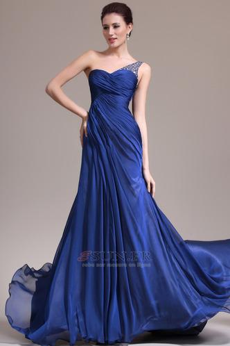 Robe de soirée Sirène Sans Manches Manquant Ruché Gaze Bleu de minuit - Page 1