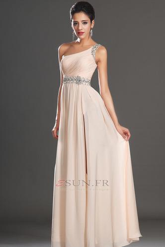 Robe habillée pour mariage Thigh-High Slit Pomme Épaule Asymétrique Zip Taille Naturel - Page 4
