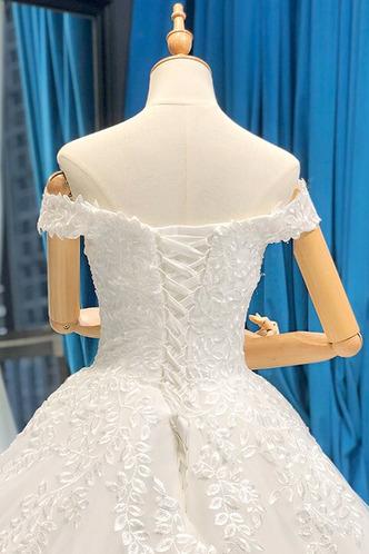 Robe de mariée Lacet A-ligne Tissu Dentelle Épaule Dégagée Formelle - Page 9