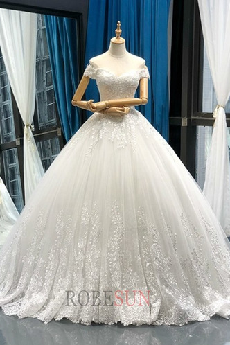 Robe de mariée Lacet A-ligne Tissu Dentelle Épaule Dégagée Formelle - Page 5