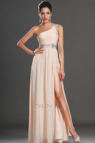 Robe habillée pour mariage Thigh-High Slit Pomme Épaule Asymétrique Zip Taille Naturel - Page 3