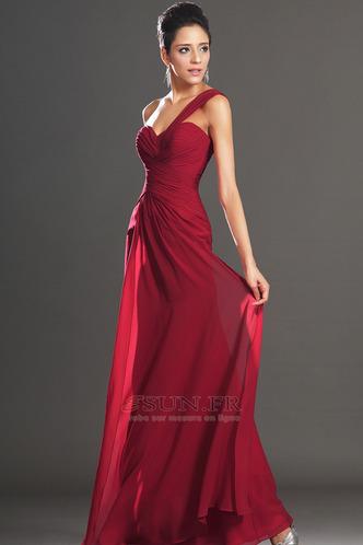Robe de soirée Rouge Elégant Fourreau plissé Plissé Sans Manches - Page 2