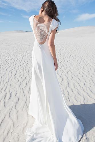 Robe de mariée Sans Ceinture Satin Élastique Gaze A-ligne Manche Courte - Page 2