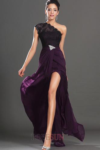 Robe de bal Violette africaine Traîne Courte Fourreau Mousseline - Page 1