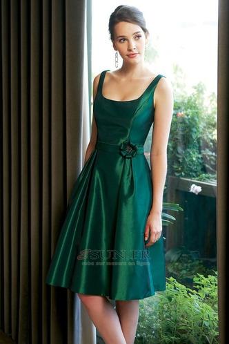 Robe demoiselle d'honneur Ruché Été Longueur Genou Taille Naturel A-ligne Taffetas - Page 1