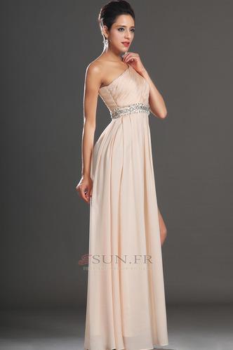 Robe habillée pour mariage Thigh-High Slit Pomme Épaule Asymétrique Zip Taille Naturel - Page 5