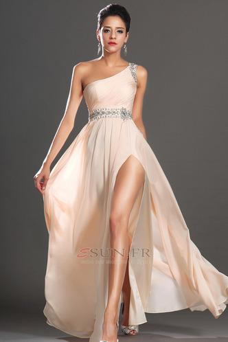 Robe habillée pour mariage Thigh-High Slit Pomme Épaule Asymétrique Zip Taille Naturel - Page 1