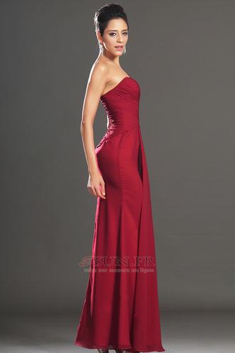 Robe de soirée Rouge Elégant Fourreau plissé Plissé Sans Manches - Page 4