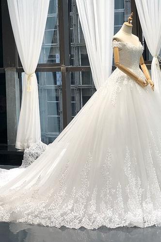Robe de mariée Lacet A-ligne Tissu Dentelle Épaule Dégagée Formelle - Page 8
