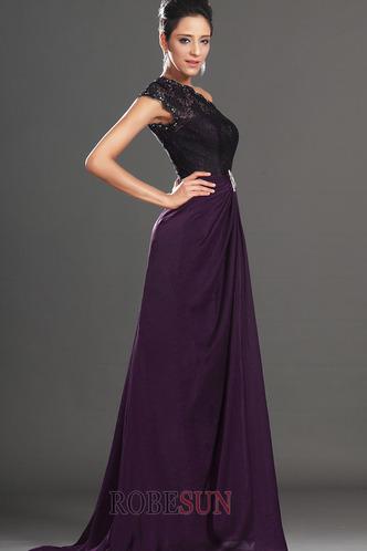 Robe de bal Violette africaine Traîne Courte Fourreau Mousseline - Page 4