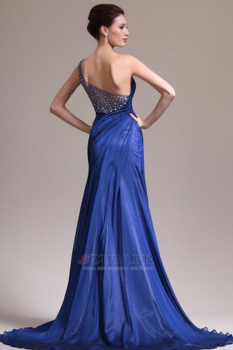 Robe de soirée Sirène Sans Manches Manquant Ruché Gaze Bleu de minuit - Page 6