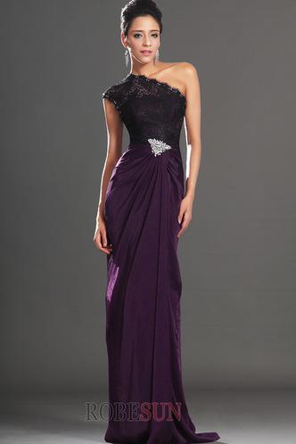 Robe de bal Violette africaine Traîne Courte Fourreau Mousseline - Page 3