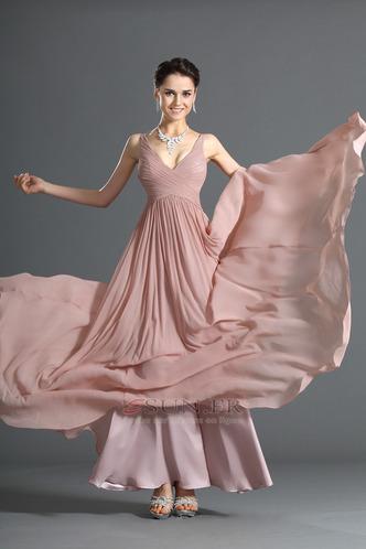 Robe de soirée Mousseline Zip A-ligne Fourreau plissé Plissé Sablier - Page 4