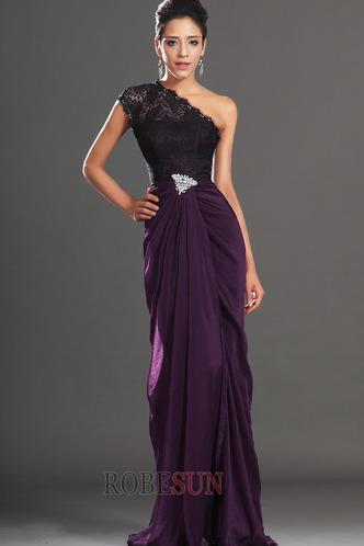 Robe de bal Violette africaine Traîne Courte Fourreau Mousseline - Page 2
